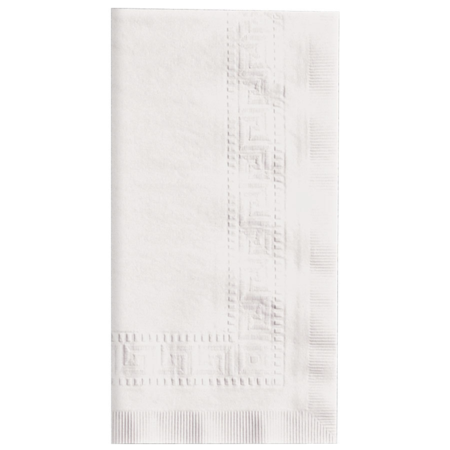 Hoffmaster 120051 17 inch x 17 inch White Linen-Like 1/8 Fold Greek Key Embossed Dinner Napkin 300/Case
