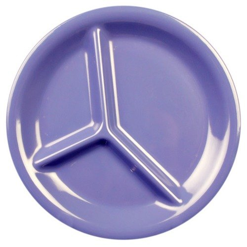 "10 1/4"" Purple 3-Compartment Melamine Plate 12 / Pack"