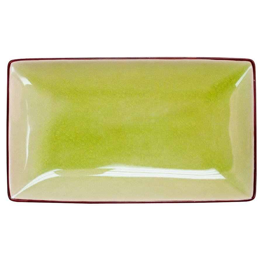 "CAC 666-33-G Japanese Style 5"" x 3 1/2"" Rectangular China Plate - Black Non-Glare Glaze / Golden Green - 36/Case"