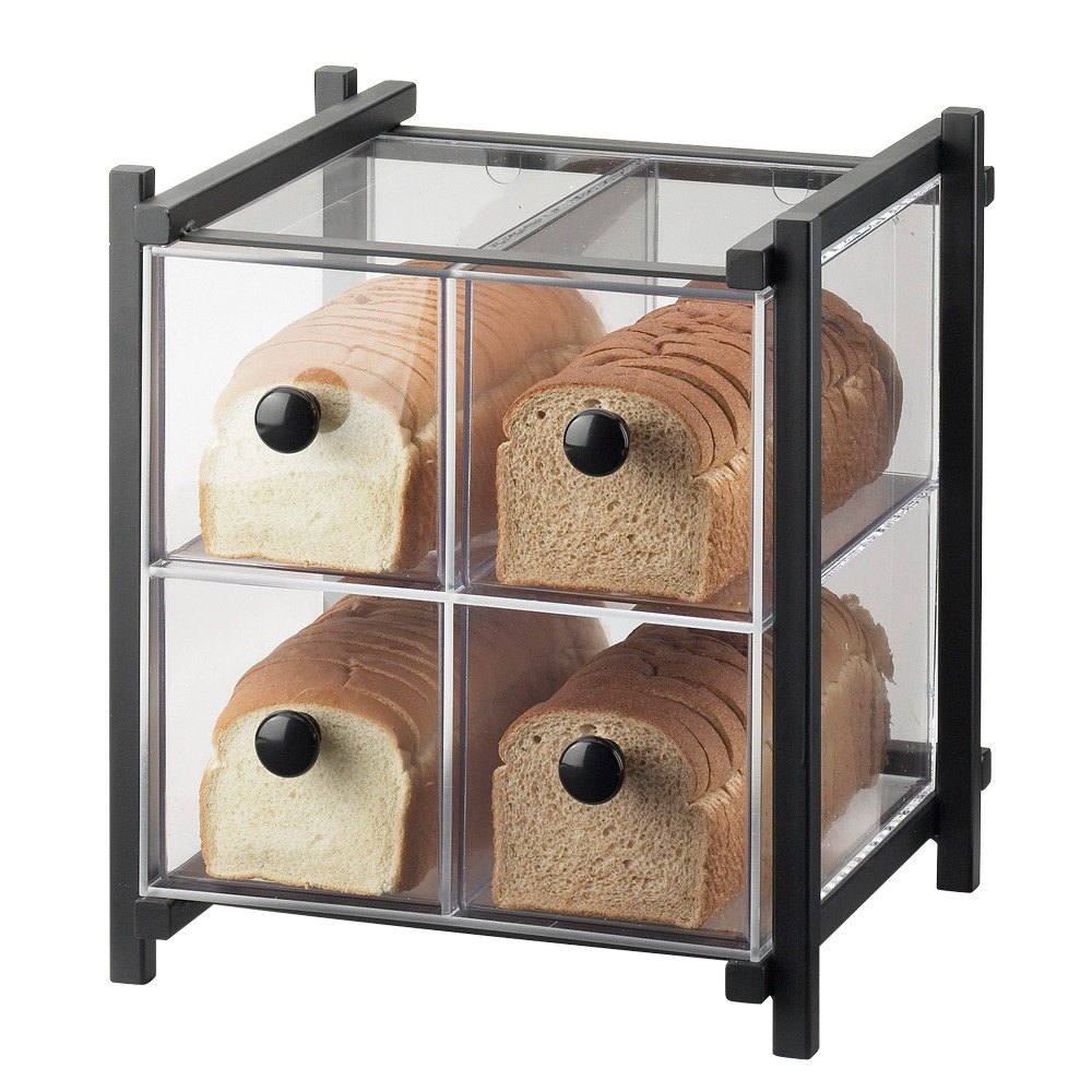 Cal Mil 1146-13 Black One by One Four-Drawer Bread Case - 14 inch x 14 3/4 inch x 15 3/4 inch
