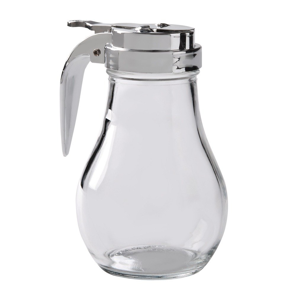 14 oz. Glass Syrup Dispenser with Chrome Plated Alloy Top