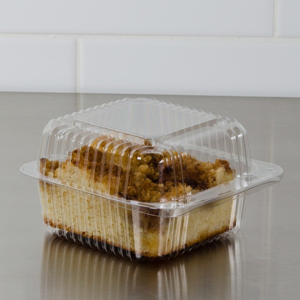 "Dart Solo PET20UTD StayLock 5 1/4"" x 5 5/8"" x 3 1/4"" Clear Hinged PET Plastic 5"" Square Deep Base Container - 500 / Case"