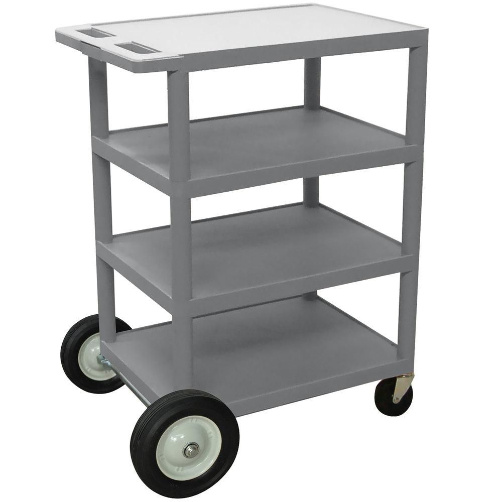 Luxor / H. Wilson BCB45 Gray 4 Shelf Serving Cart with Rear Big Wheels -  18