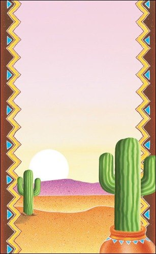 "8 1/2"" x 11"" Menu Paper - Southwest Themed Cactus Design Cover - 100/Pack"