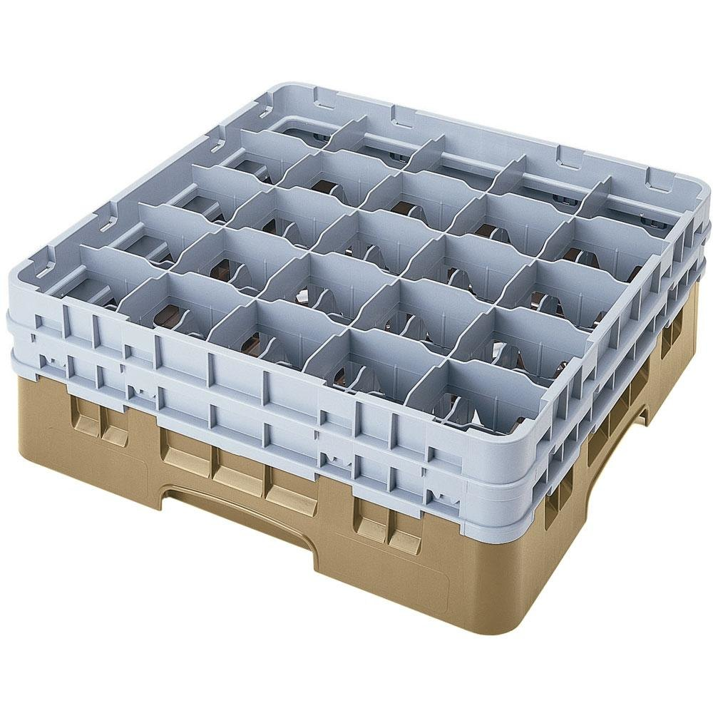 "Cambro 25S900184 Camrack 9 3/8"" High Beige 25 Compartment Glass Rack"