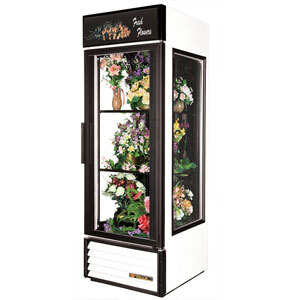 True GEM-23 White Glass End Floral Case - 23 Cu. Ft.