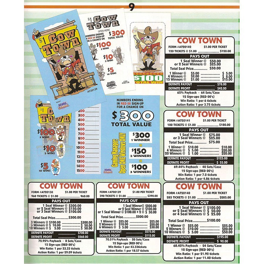 """""""Cow Town"""" 1 Window Pull Tab Tickets - 180 Tickets Per Deal - Total Payout: $125 at Sears.com"""