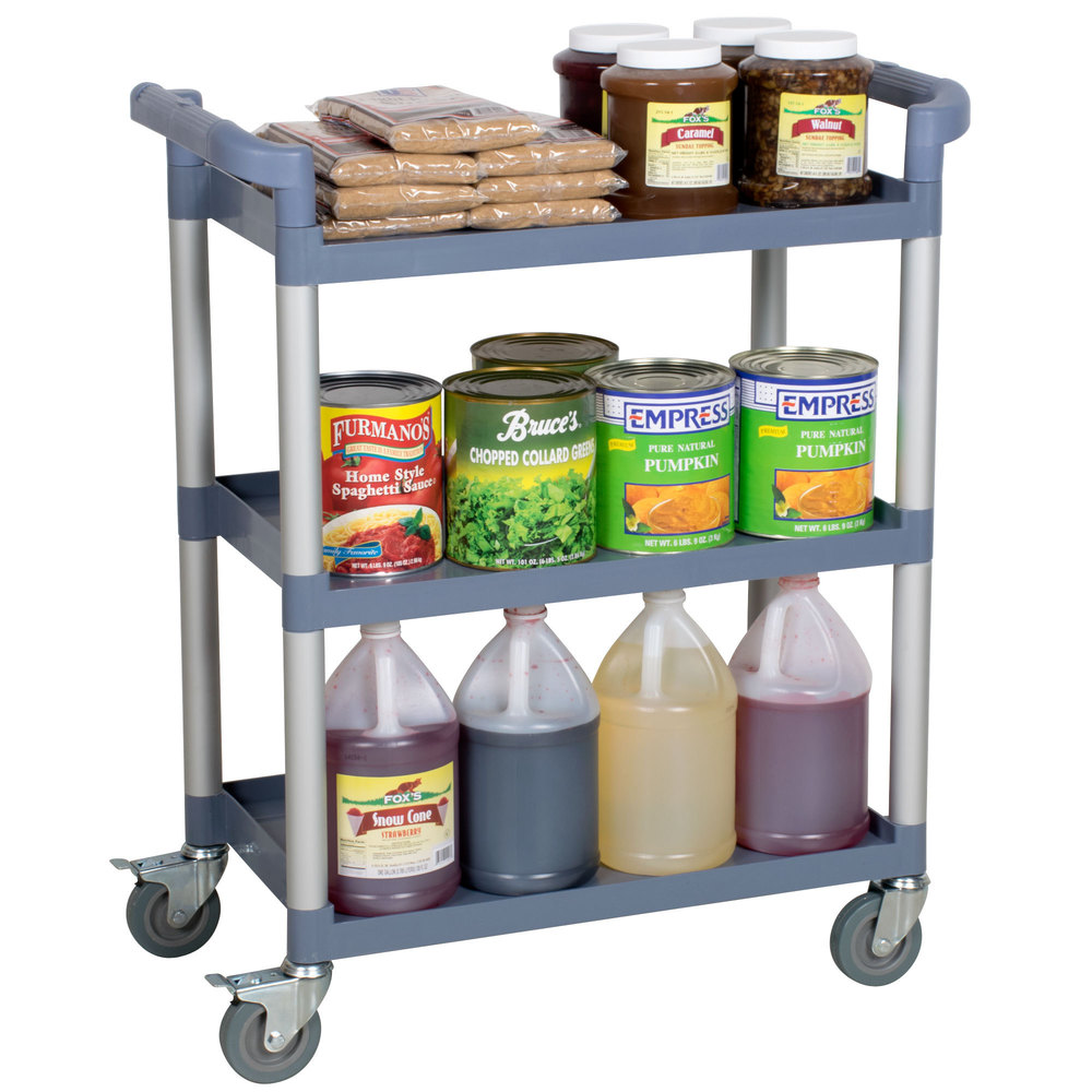 "33 1/2"" x 16 1/8"" x 37"" Gray Three Shelf Utility Cart / Bus Cart"