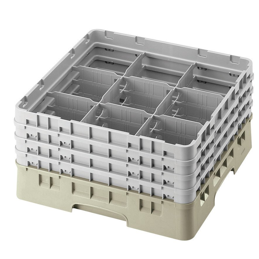 "Cambro 9S318184 Beige Camrack 9 Compartment 3 5/8"" Glass Rack"