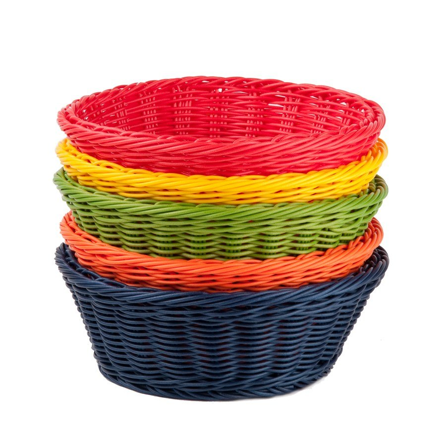 "Tablecraft HM1175A Round Rattan Basket 8 1/4"" x 3 1/4"" Assorted Colors 5/Pack"
