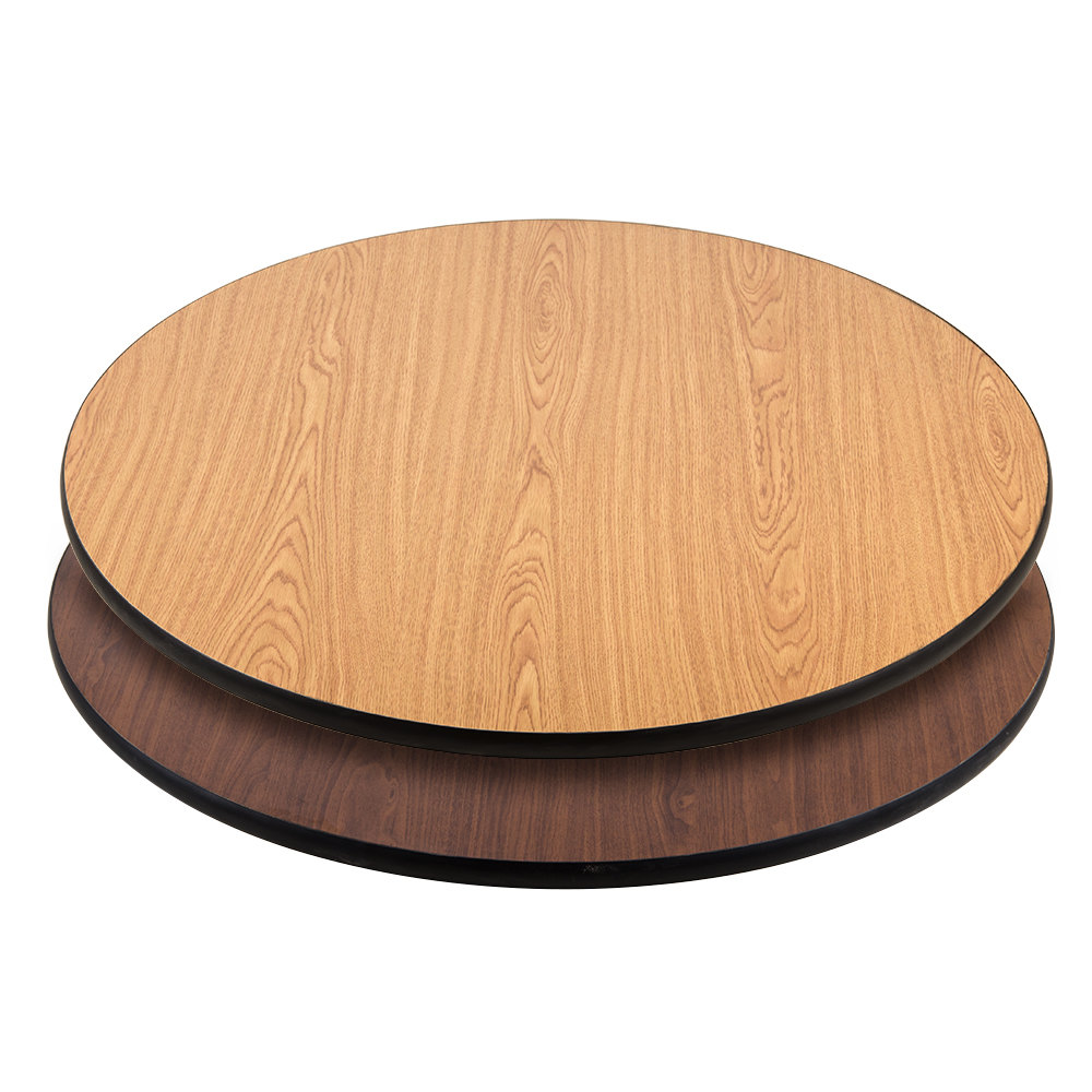 "Lancaster Table & Seating 36"" Laminated Round Table Top Reversible Walnut / Oak"