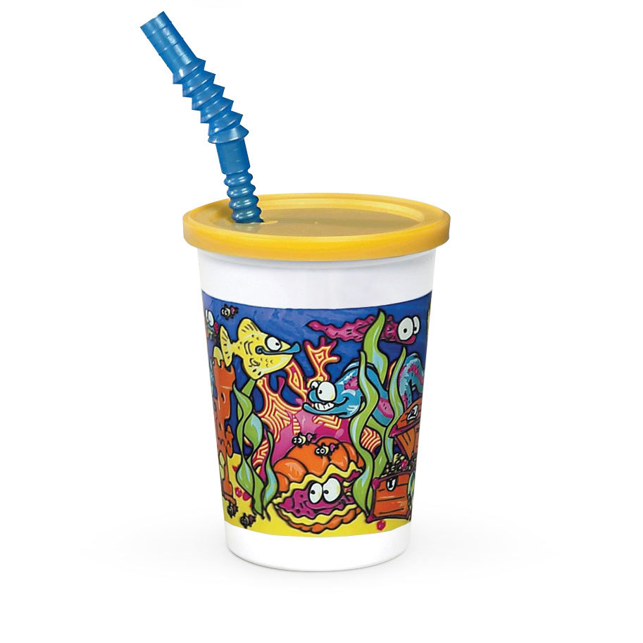 WNA Comet 12 oz. Plastic Kids Cup - Under the Sea with Reusable Lid and Straw - 250/Case at Sears.com