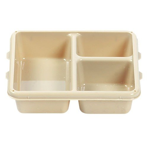 "Cambro 9113CP161 9"" x 11"" Tan 3 Compartment Meal Delivery Tray - 24/Case"