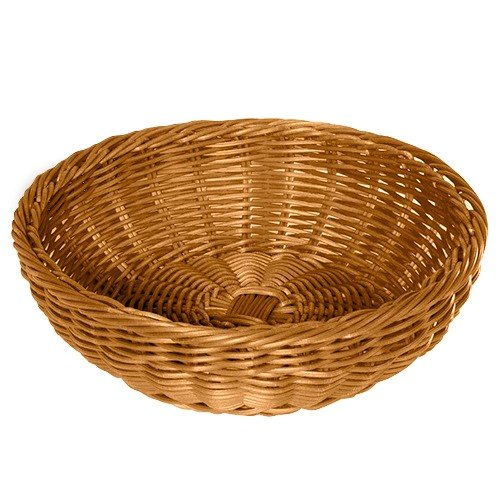 "GET WB-1512-H 11 1/2"" x 3 1/2"" Designer Polyweave Honey Round Basket - 12 / Case"