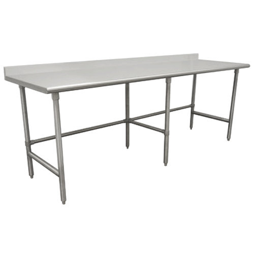 "Advance Tabco TKSS-368 36"" x 96"" 14 Gauge Open Base Stainless Steel Commercial Work Table with 5"" Backsplash"
