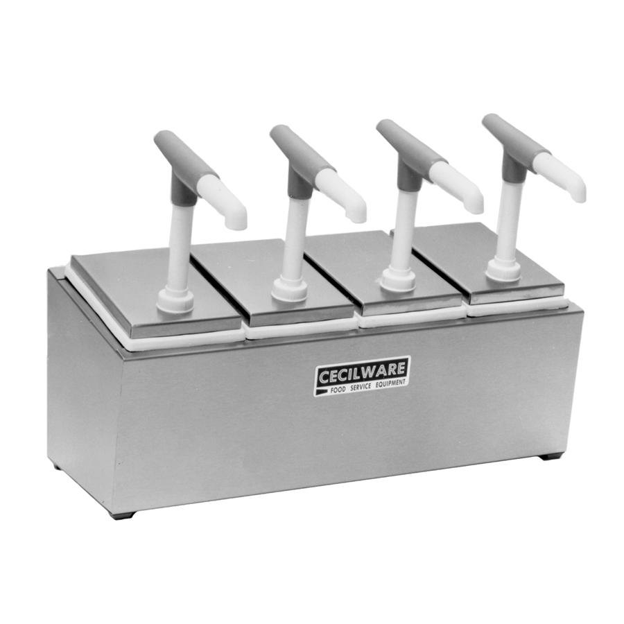 Cecilware 444G Giant Pumps Stainless Steel Condiment Rail with Four Plastic Pumps, Jars, and Covers