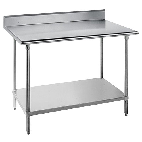 "Advance Tabco KAG-307 30"" x 84"" 16 Gauge Stainless Steel Commercial Work Table with 5"" Backsplash and Galvanized Undershelf"