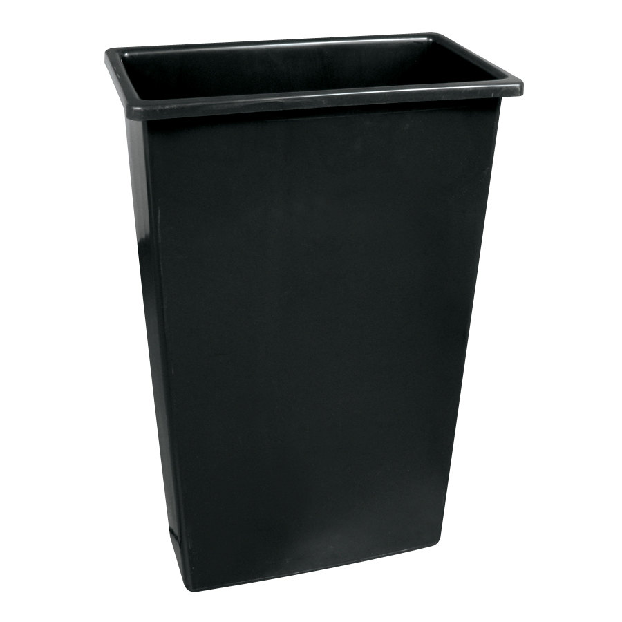 Continental 8322BK 23 Gallon Wall Hugger Black Trash Can