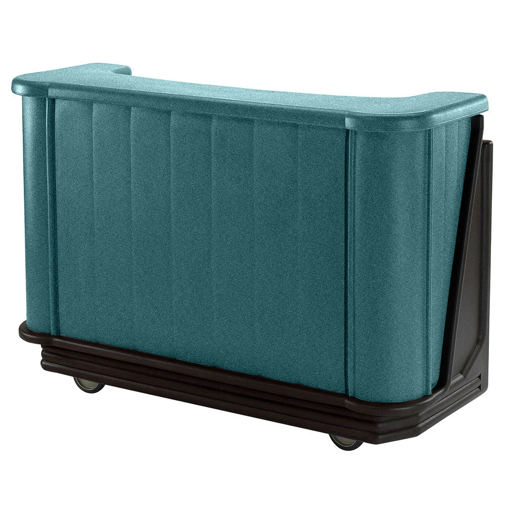"Cambro BAR650PM421 Granite Green and Black Cambar 67"" Portable Bar with 7-Bottle Speed Rail and Complete Post Mix System"