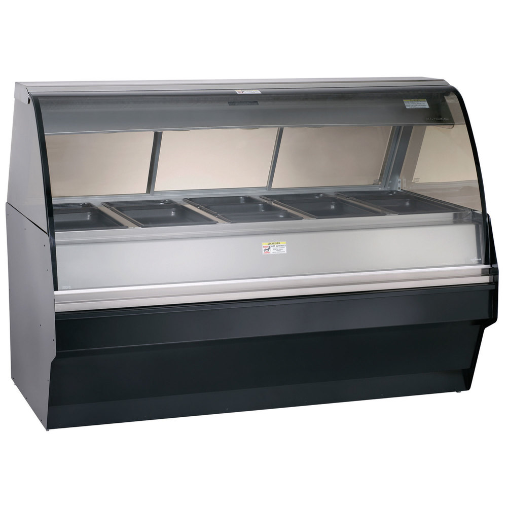 Alto-Shaam TY2SYS-72/P SS Stainless Steel Heated Display Case with Curved Glass and Base - Self Service 72""