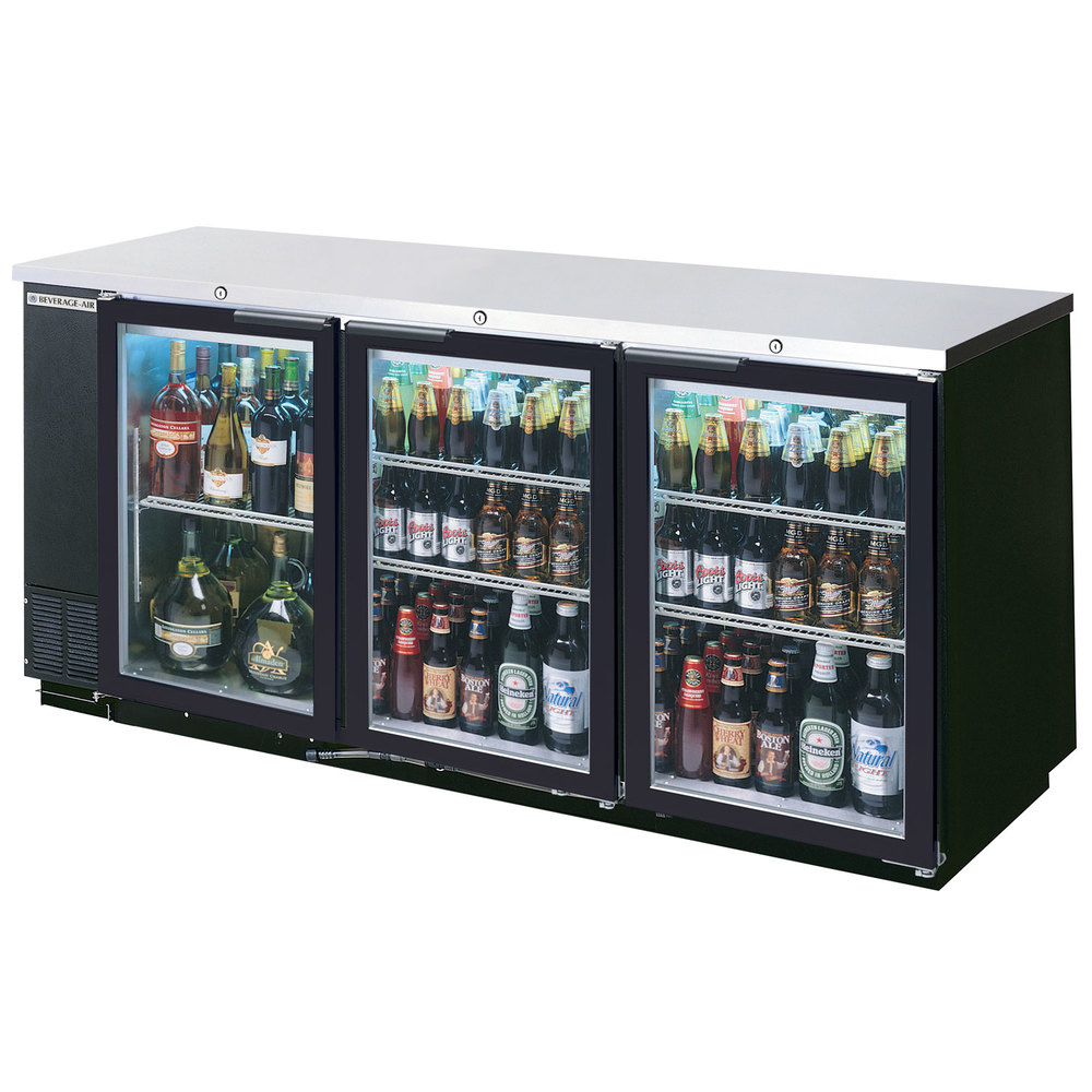 "Beverage Air BB72GSY-1-B-27-LED 72"" Black Back Bar Refrigerator with Sliding Glass Doors and Stainless Steel Top - 115V"