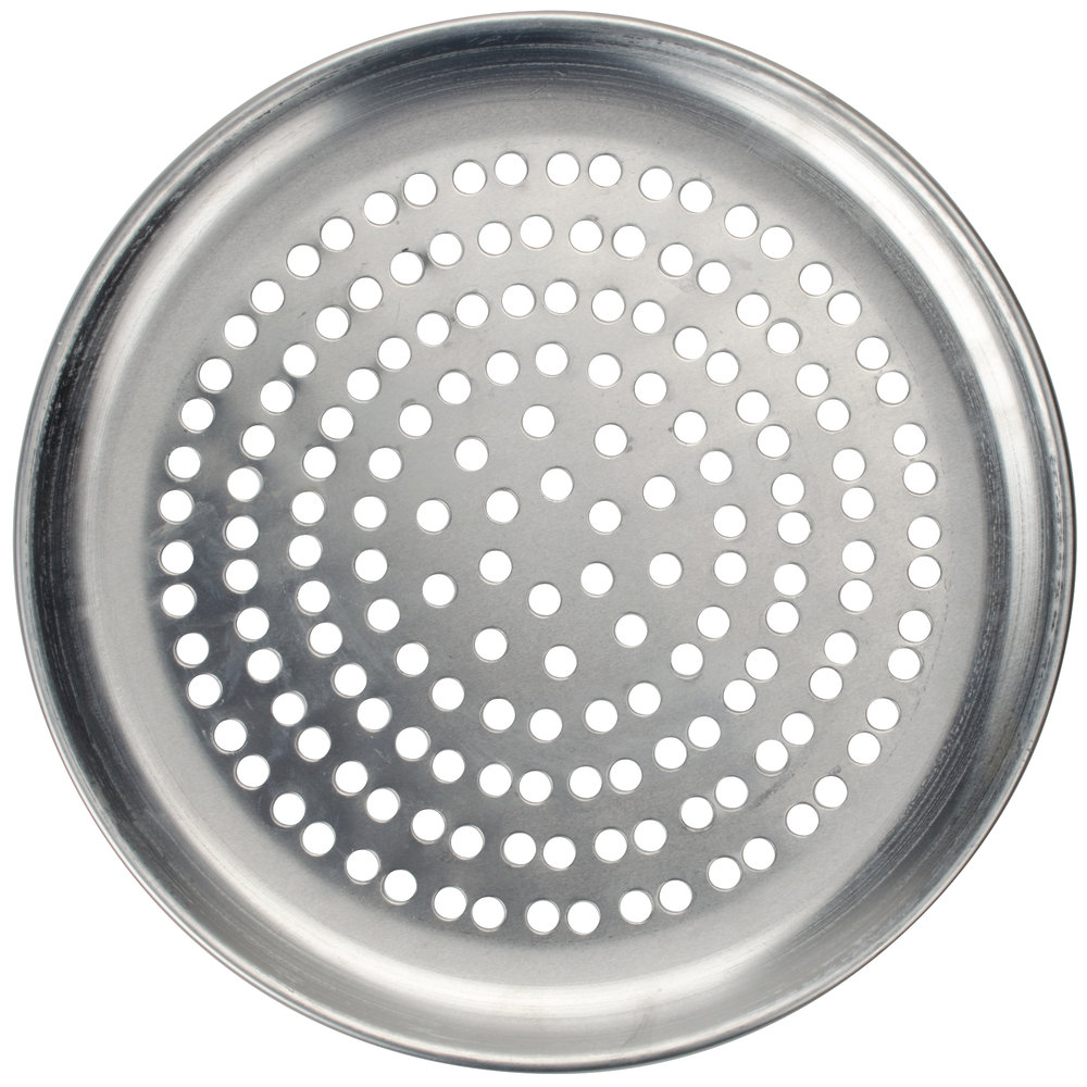 "American Metalcraft CTP11P 11"" Perforated Standard Weight Aluminum Coupe Pizza Pan"