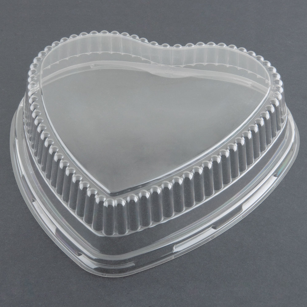 "Genpak 95H09 Bake 'N Show Clear Dome Lid for 55H09 Dual Ovenable 9"" Heart Shape Cake Pan - 200/Case"
