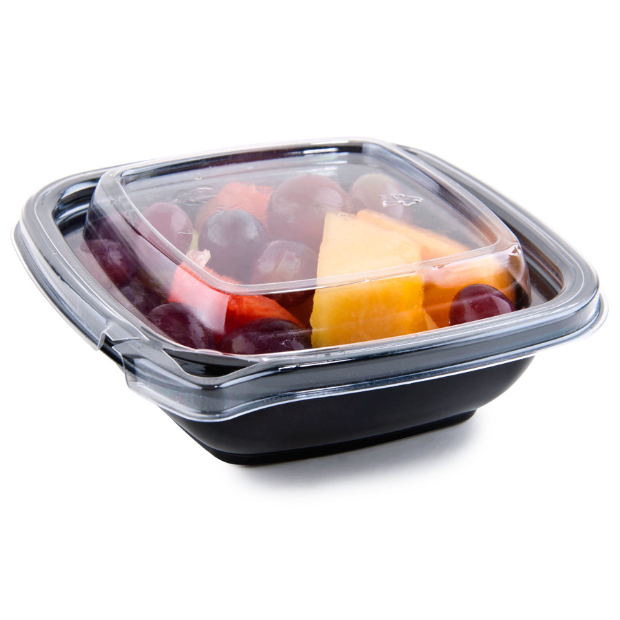 Sabert C95008TE250 8 oz. Black Square Tamper Evident Bowl with Lid - 250 / Case