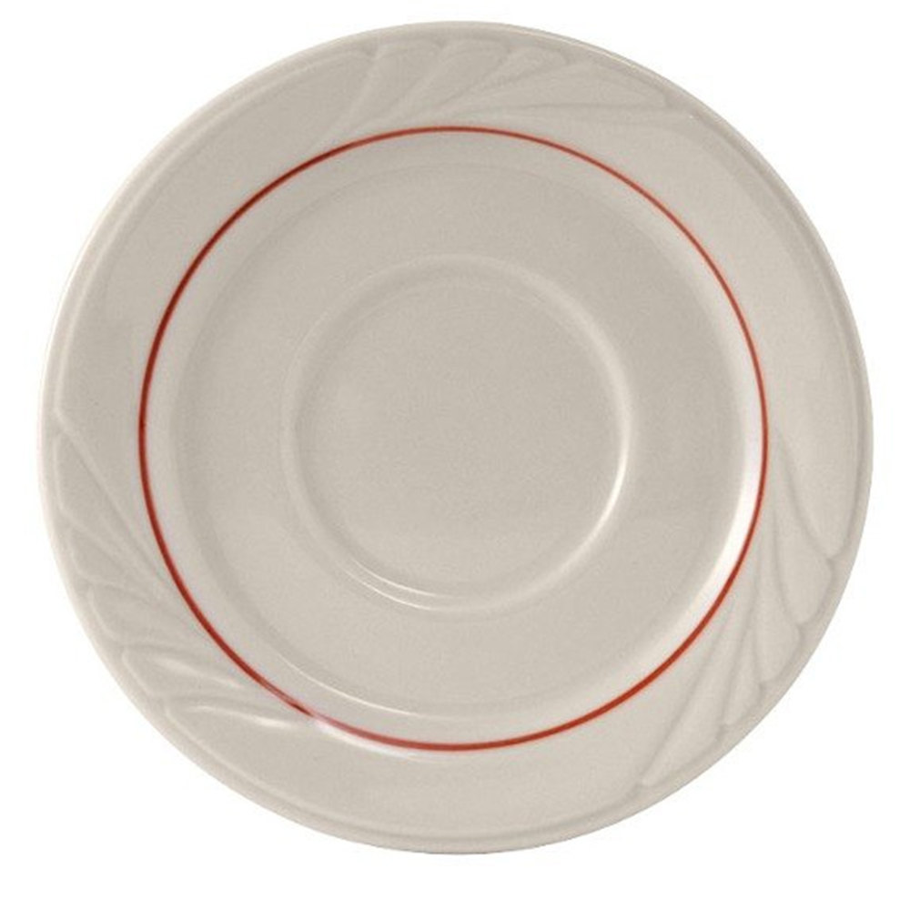 "Tuxton YBE-054 Monterey 5 1/2"" China Saucer with Berry Band - 36/Case"