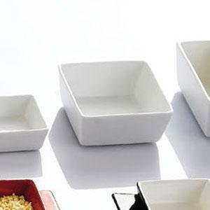 "CAC F-BW4 Fortune 3 1/2"" Square China Tasting Bowl - White - 48/Case"