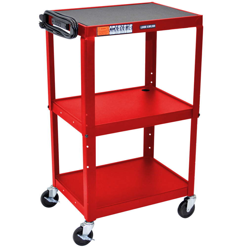 "Luxor / H. Wilson AVJ42 Red 3 Shelf A/V Utility Cart 24"" x 18"" - Adjustable Height"