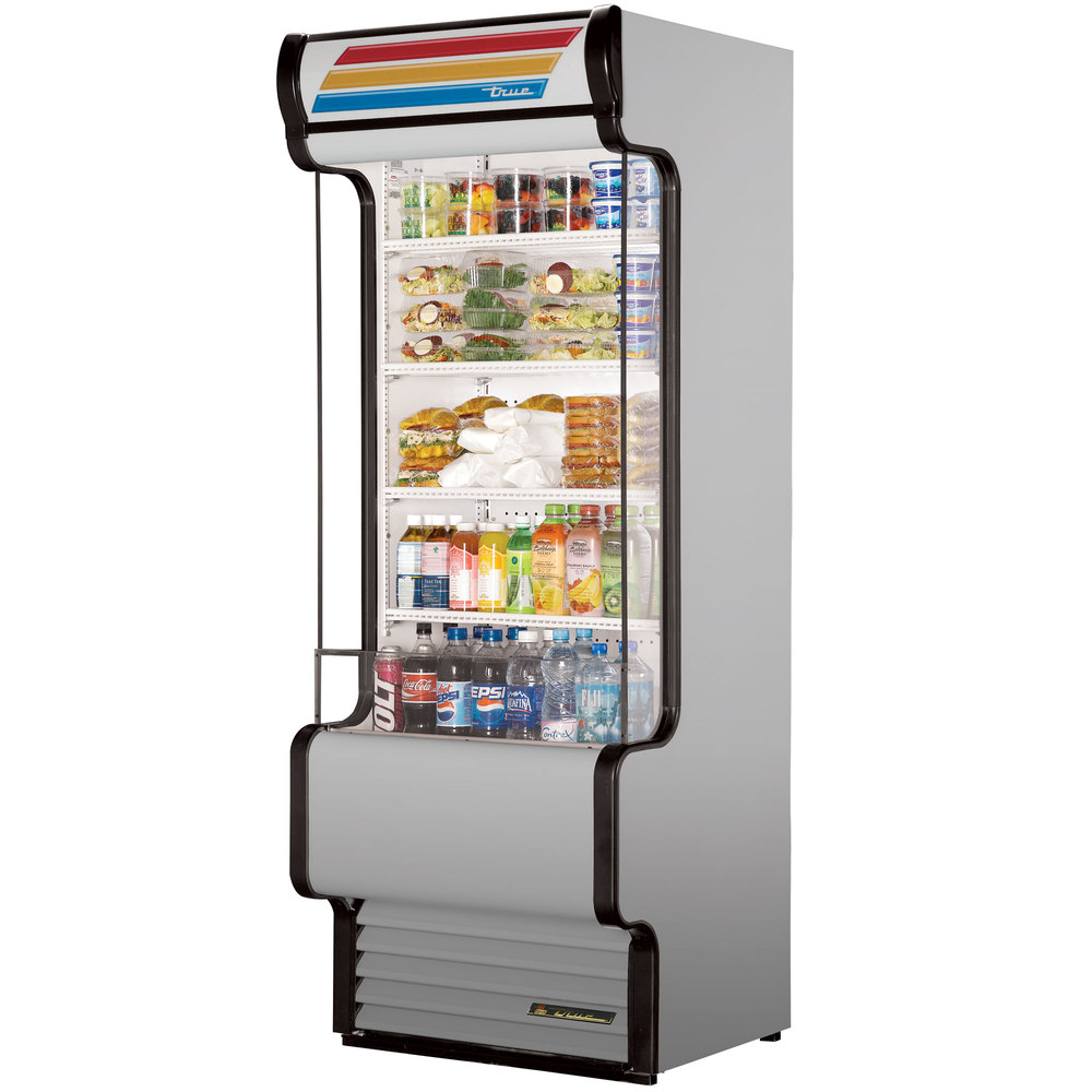 "True TAC-30GS-LD 30"" Stainless Steel Refrigerated Glass Sided Air Curtain Merchandiser - 25.5 Cu. Ft"