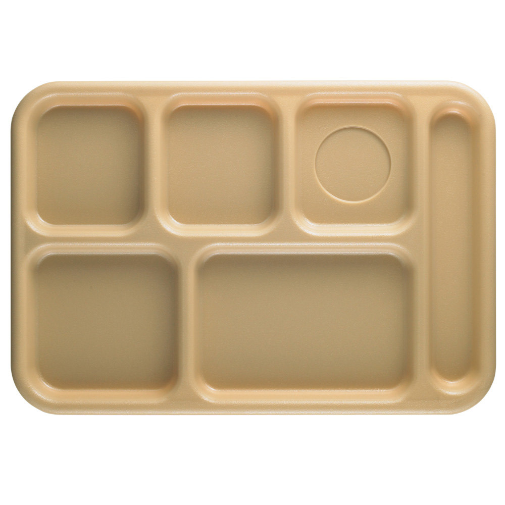 "Cambro 10146CW133 Camwear 10"" x 14 1/2"" Beige 6 Compartment Serving Tray - 24/Case"