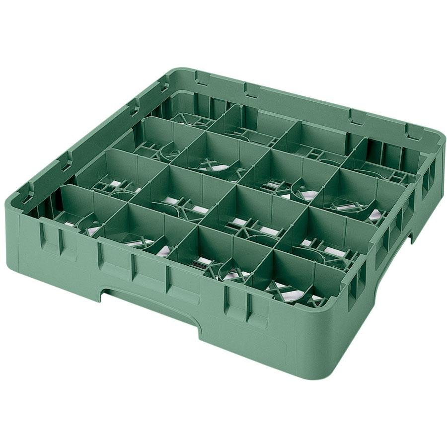 "Cambro 16S638119 Camrack 6 7/8"" High Sherwood Green 16 Compartment Glass Rack"