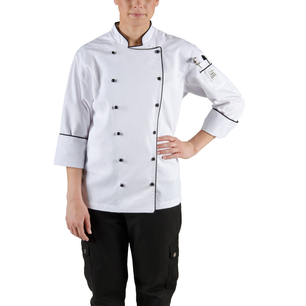 Chef Revival LJ044-M Chef-Tex Size 8 (M) Customizable Poly-Cotton Ladies Brigade Jacket with Black Piping