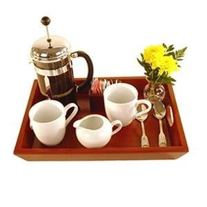 "16"" x 11 1/2"" Wooden Coffee Butler Tray"