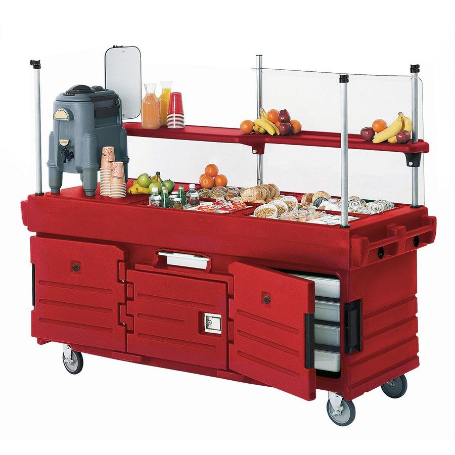 Cambro CamKiosk KVC856158 Hot Red Vending Cart with 6 Pan Wells