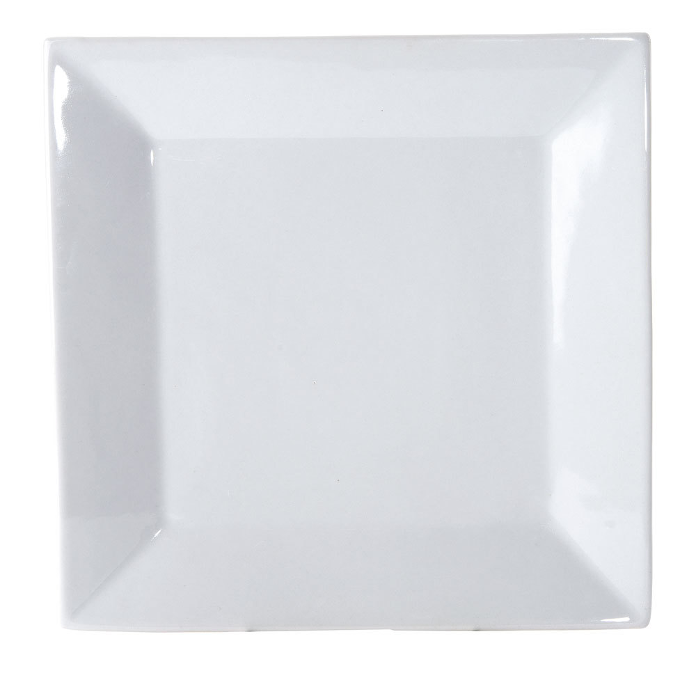 Kingsquare China Bright White Square Plate - 9 1/4 inch 24 / Case