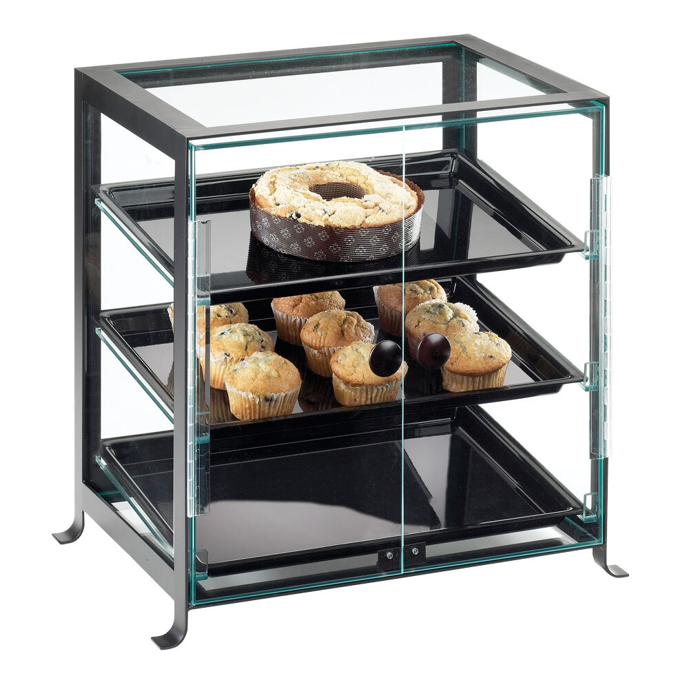 Cal Mil 1575-13 Black Soho Attendant Serve Display Case - 21 1/4 inch x 15 3/4 inch x 20 3/4 inch