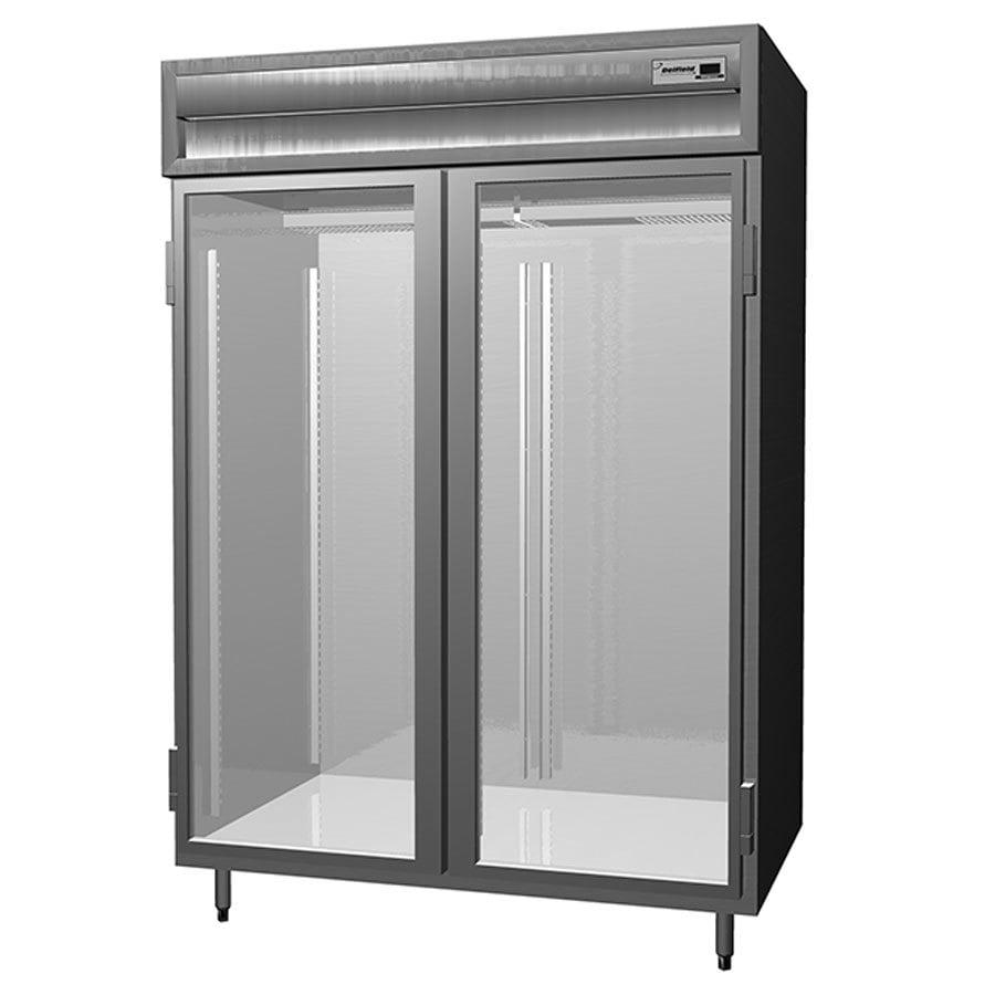 Delfield Saf2 G 52 Cu Ft Two Section Glass Door Reach In Freezer