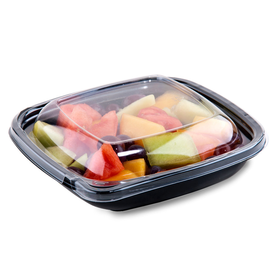 Sabert C98024TE150 24 oz. Black Square Tamper Evident Bowl with Lid - 150 / Case