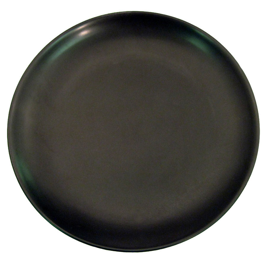 "CAC 666-21-BK Japanese Style 12"" China Coupe Plate - Black Non-Glare Glaze - 12/Case"