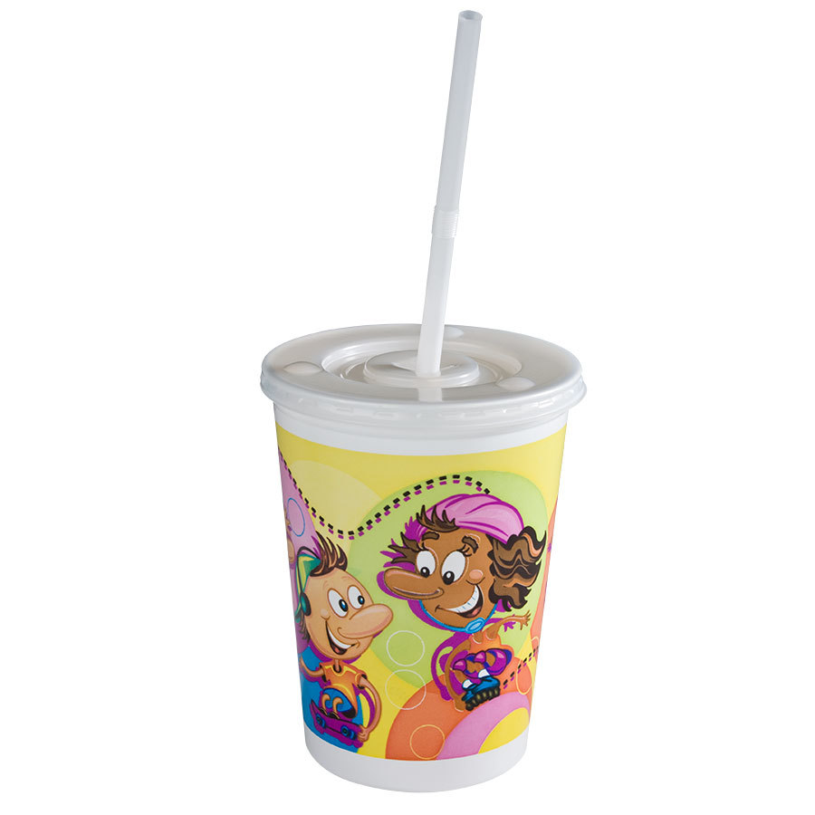 Huhtamaki 12 oz. Plastic Kids Cup - Rollerskate / Skateboard with Disposable Lid and Straw - 250 / Case at Sears.com