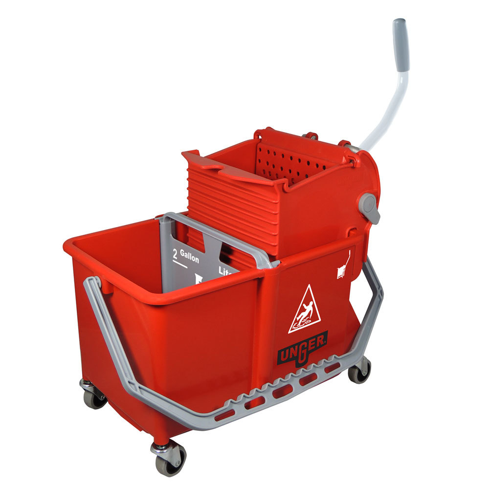 Unger Comsr 4 Gallon Red Mop Bucket With Wringer