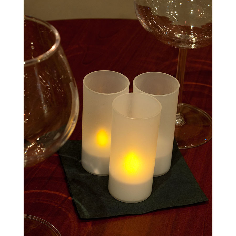 12-Piece Set Flameless Rechargeable Tea Light Candles with Frosted Plastic Cup