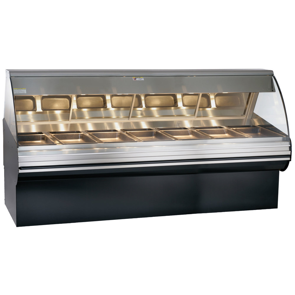 Alto-Shaam HN2SYS-96/PR S/S Stainless Steel Heated Display Case with Curved Glass and Base - Right Self Service 96""