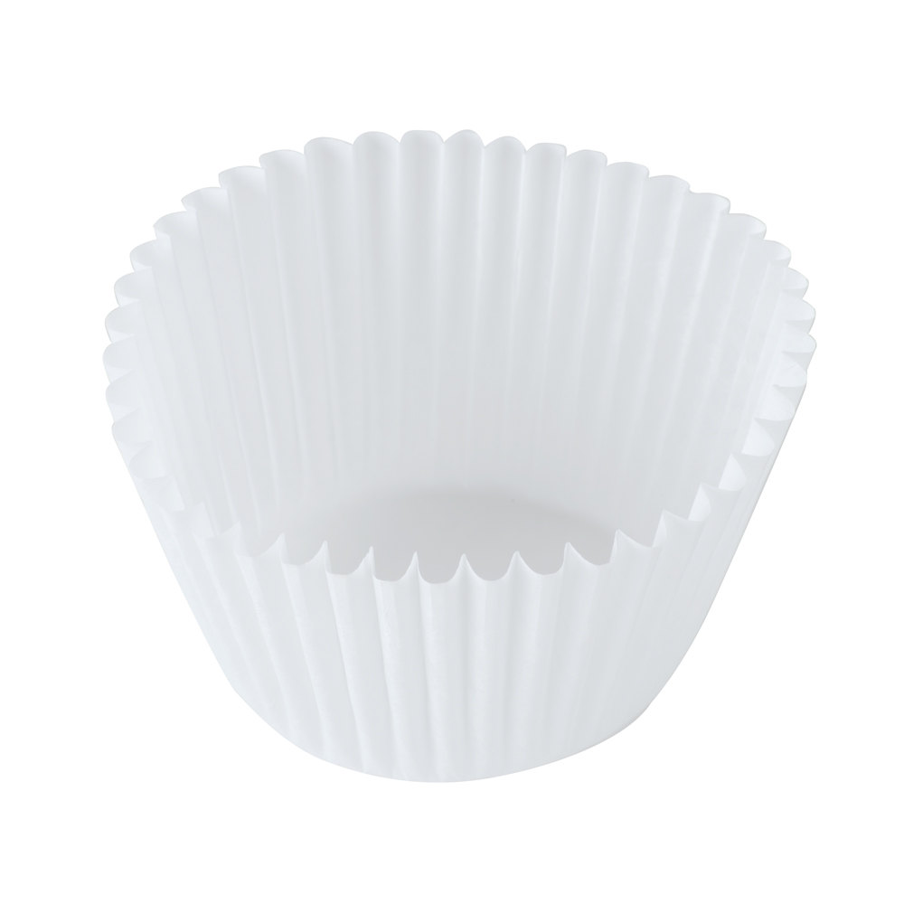 "Hoffmaster 610070 2 1/4"" x 1 7/8"" White Fluted Baking Cup 500 / Pack"
