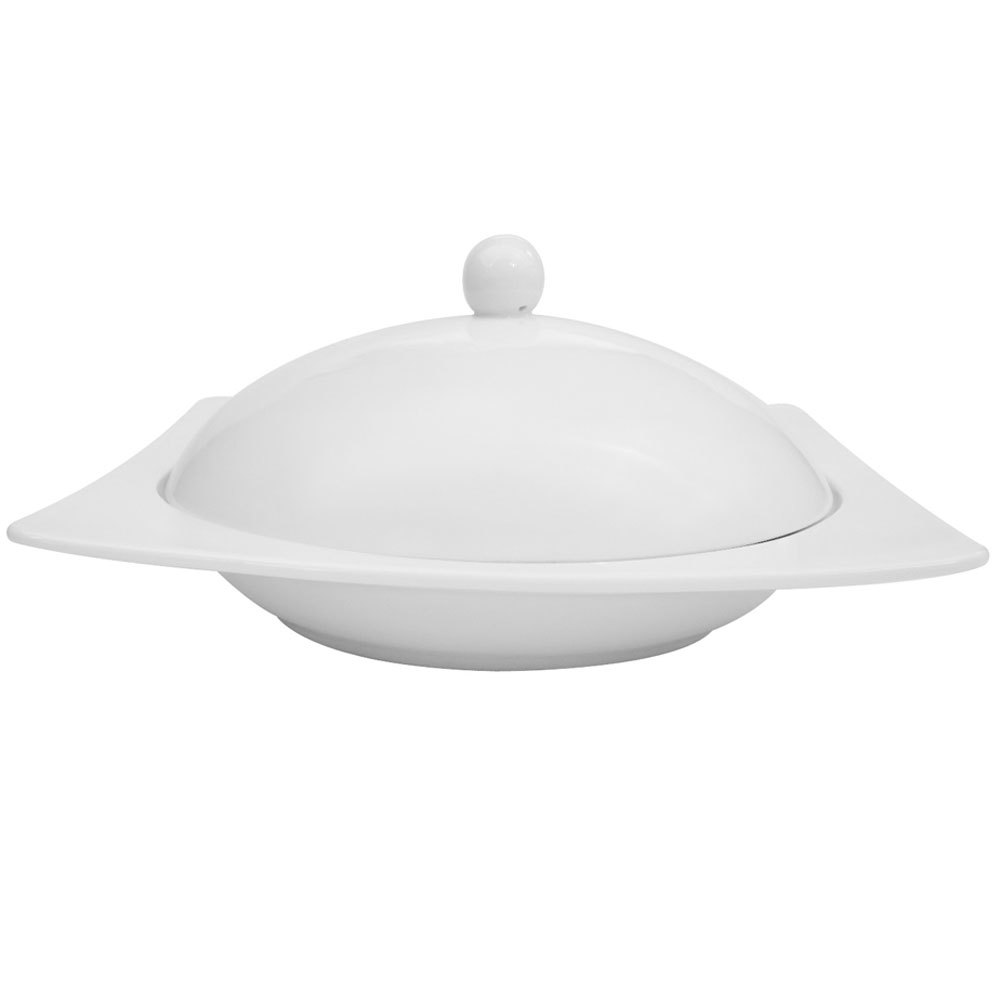 CAC KSE-220 Square White China Pasta Bowl with Lid 24 oz. - 6/Case