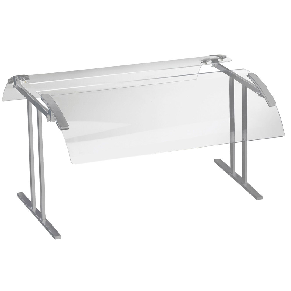 "Cal-Mil 2027-6-74 73 1/4"" Silver Double-Face Tabletop Sneeze Guard"