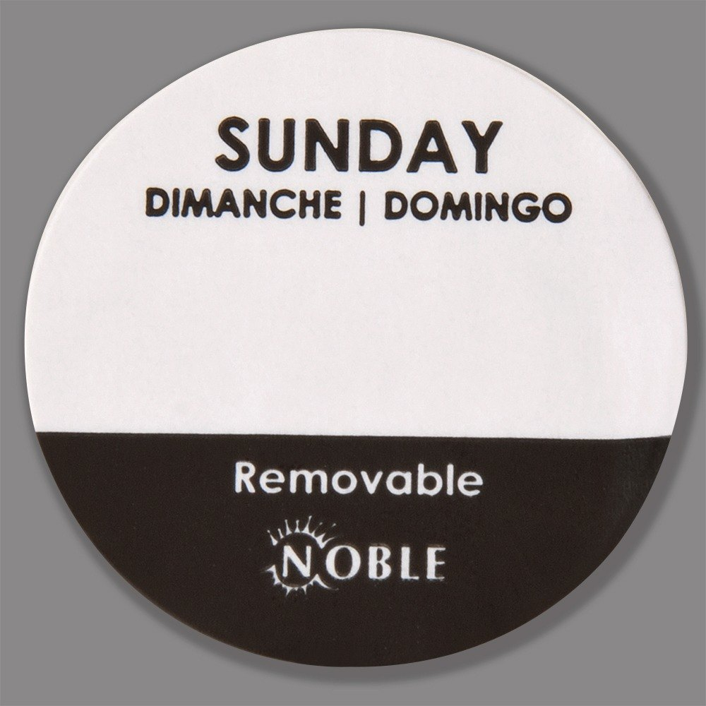 Noble Sunday Removable Day of the Week Dot Label 1 inch – 1000 / Roll